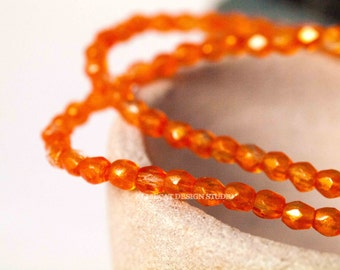 PREMIUM 50 Orange Hyacinth 3mm Firepolish Czech Glass Beads (N109)