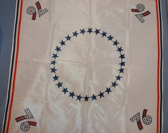"Vtg Bicentennial Scarf 1776 - 1976 White Patriotic Red White Blue Slinky 22"" Square"