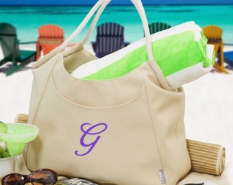 Personalized Embroidered Initial Beach Tote with Mat