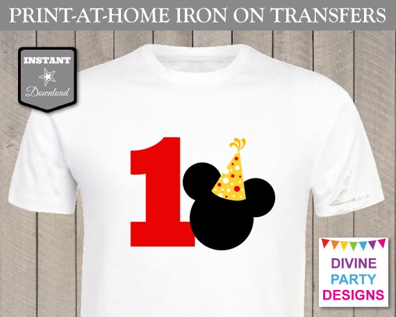 Instant download print at home mouse party hat 1 birthday for Instant t shirt printing