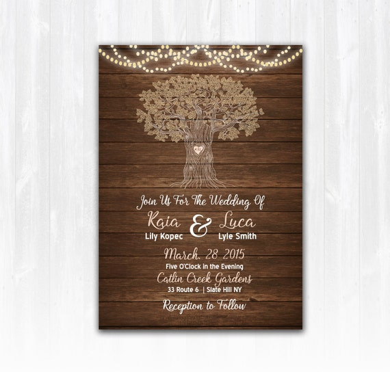 String Lights Tree Rustic Wedding Invitation : Rustic Tree Wedding Invitation with String Lights DIY