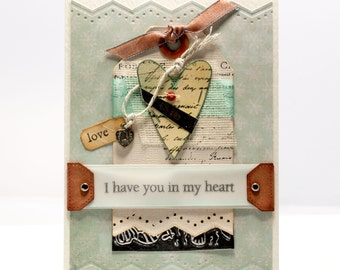 """Love Handmade Paper Card, Heart Collage """"I have you in my heart"""", Silver Emboss, Paper Goods"""