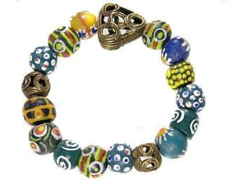 African Ghana recycled glass handmade bracelet