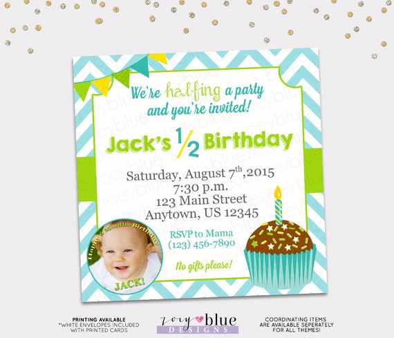Half Birthday Invitation Boy 6 Month Birthday Invitation