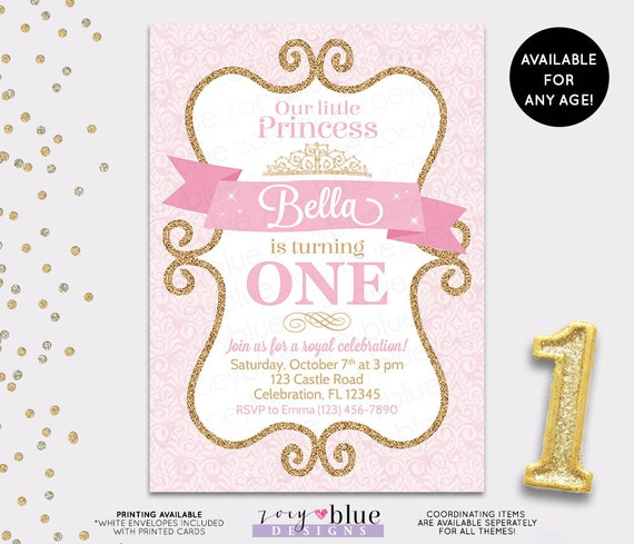 Princess Birthday Invitation Girl Gold Glitter Pink Gold - First birthday invitations girl pink and gold