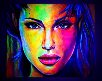 Art Portrait Painting Abstract UV Glow in the dark Fluorescent large Contemporary Original Acrylic Angelina Jolie famous people coloured