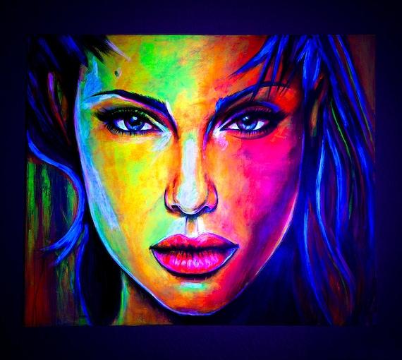 Célèbre Art Portrait peinture abstraite UV Glow dans le foncé fluo GH46