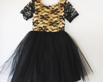 Girl's Dress champagne and black lace tutu dress, flower girl dress