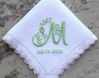 WEDDING HANDKERCHIEF, LINEN, Bobbin Lace, Personalize with Cutwork Initial, Christening - Baptism - Confirmation, Gift Box, Nosegay 10x10