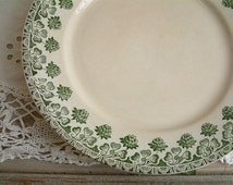 Set of 6 antique french transferware plates. Antique green transferware dinner plate. French country. Antique ironstone.