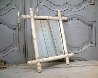 French vintage shabby white painted wood faux bamboo mirror with chain. French country cottage chic.Shabby paris chic. Rustic farmhouse.