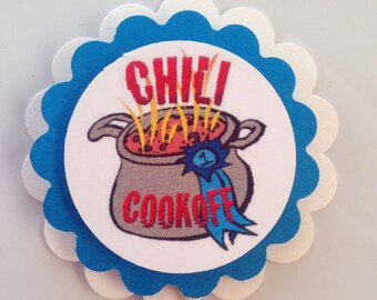 Chili cook-off cupcake toppers party decor blue ribbon WINNER
