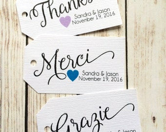 Personalized Thank You tags - Merci - Grazie - Thanks