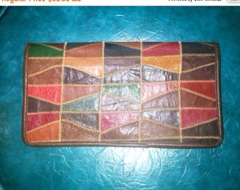 SALE Vintage Leather Patchwork Color Block Clutch Handbag