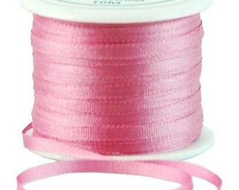 11 Yds (10 M) Embroidery Silk Ribbon 100% Silk 2mm - Dusty Rose - By Threadart