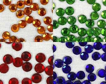576 Pcs Ss30 Hotfix Rhinestones 6.5mm Hot Fix- 4 Jewel Colors - By Threadart