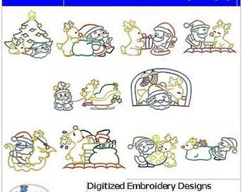 Embroidery Design CD - Santa and Rudolph(2) - 10 Designs - 9 Formats - Threadart