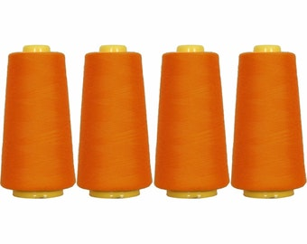 4 Big Cones Orangeyel Serger Sewing Thread 2750 Yd Tex 27 40s2 - Threadart