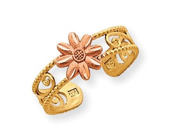 Multi Tone Flower Toe Ring (JC-1118)
