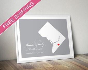 Custom Washington DC Location and Map Print - Personalized Wedding Gift, Housewarming Gift, Engagement Gift