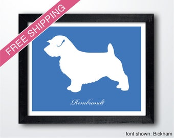 Personalized Norfolk Terrier Silhouette Print with Custom Name (Docked Tail) - Norfolk Terrier art, modern dog home decor
