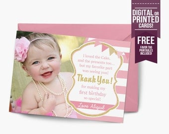 Pink and Gold Thank You Card, Birthday Thank You Card, Glitter Thank You Card, First Birthday Thank You Card,Glam, Photo Thank You