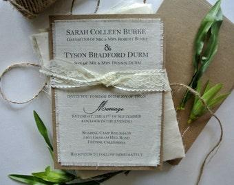 Lace Wedding Invitations Rustic Wedding Invitation Burlap Fabric Alternative Handkerchief Invitation Vintage, Boho Wedding