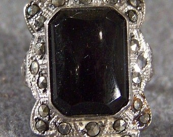 Vintage Sterling Silver Marcasite Huge Onyx Band Ring Jewelry **RL