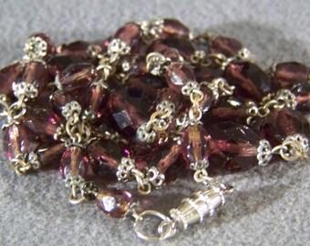 "Vintage Bold Amethyst Glass Bead 29"" Long Necklace    **RL"