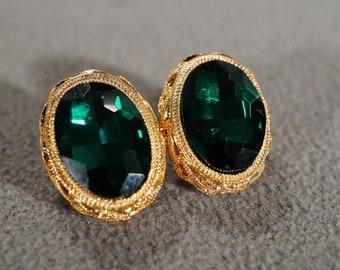 Vintage Art Deco Style Yellow Gold Tone Glass Stone Stud Style Pierced Earrings Jewelry -K #90