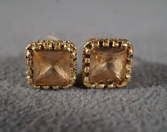 Vintage Art Deco Style Yellow Gold Tone Glass Stone Amber Square Stud Style Pierced Earrings Jewelry    K#33