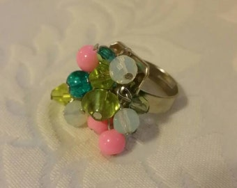 Pink and Green Beaded adjustable Ring