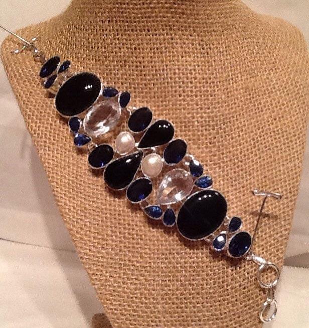 Pearl Tanzanite: Black Onyx White Topaz Tanzanite And River Pearl Bracelet