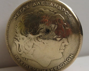 Greece Hundred Drachmas Coin Snuff Box / Stash Box / Pill Box / Keepsake Handcrafted In Trench Art Style
