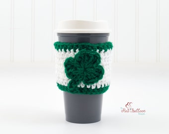 Shamrock Cup Cozy - St. Patrick's Day Cozy - Lucky Cozy -Coffee Cup Sleeve - Travel Cup Cozy - Travel Coffee Sleeve - Gift Under 10