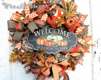 Fall Wreath, Autumn Decor, Jute Mesh Wreath, Orange Burlap, Welcome to Our Home