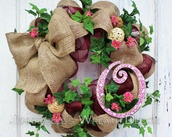 Summer Wreath, Fall Wreath, Burlap, Deco Mesh Wreath, Monogram Letter, Burgundy, Maroon