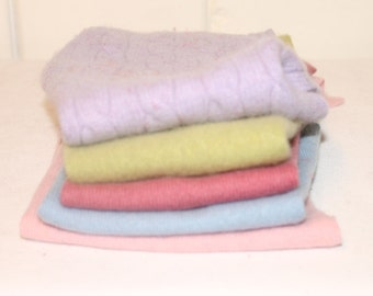 Upcycled Felted Cashmere Sweater Pieces - Pastels