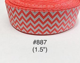 "2/3/5 yard - 1.5"" Neon Orange and White Zig Zag Grosgrain Ribbon Hair bow"