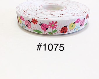 "3 or 5 yard - 7/8"" Spring Summer Ladybug Flower (2) White Grosgrain Ribbon Hair bow"