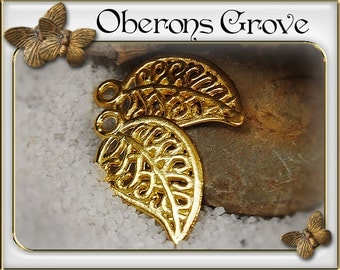 10 leaf charms gold 10x18mm