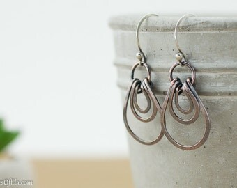 Copper earrings, layered loops, hammered patina copper, horseshoe, handmade, sterling silver ear wires, nickel free jewelry