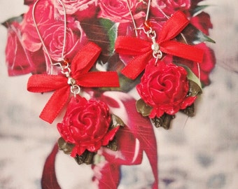 earrings romantic  red roses
