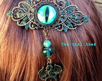 Hair Barrette-Green Dragon's Eye
