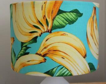 Drum lampshade with Tommy Bahama banana print fabric.