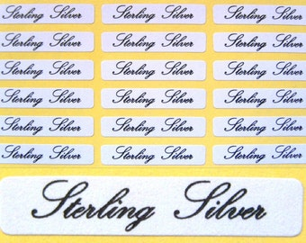 130 x Self Adhesive Jewellery Labels For Sterling Silver ~ 30mm x 5mm
