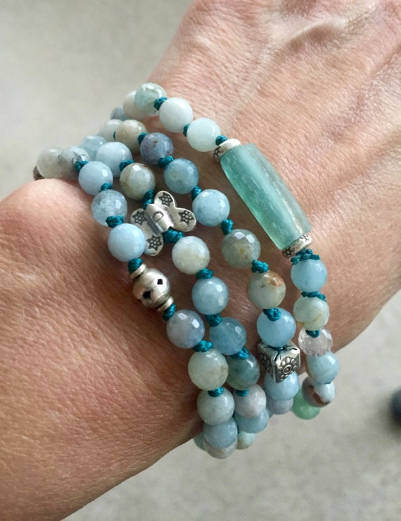 108 Aquamarine Mala Bracelet, Roman Glass Mala Beads, Thai Silver, March Birthstone, Throat Chakra Yoga Jewelry , Meditation Beads