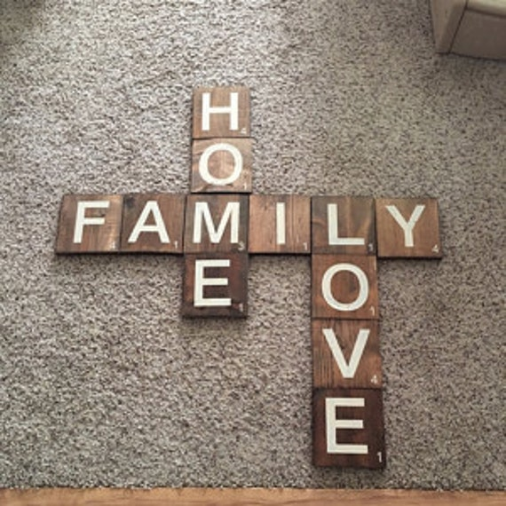 Home Love Family Scrabble Tile Wall Decor Rustic Home Decor Vintage Rustic Wall Art