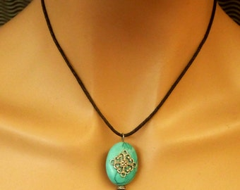 Turquoise necklace antique style, gemstone jewelry, gift idea woman, jewelry for her, oval necklace