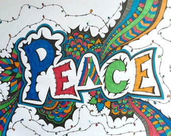 Hand drawn funky PEACE zentangle doodle